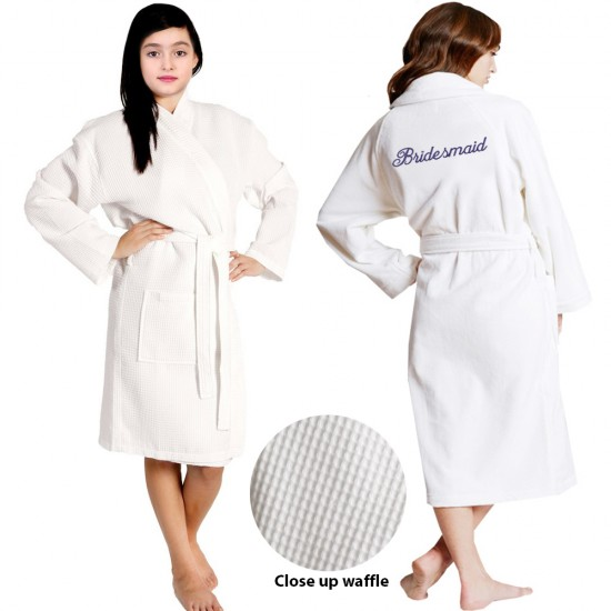 Kids waffle Bathrobe Embroidery front and back