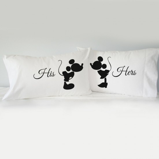 Mrs & MR Mickey printed pillowcase (A set of 2 pillowcovers)