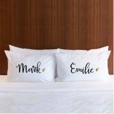 Personalised name golden heart printed pillowcase (A set of 2 pillowcovers)