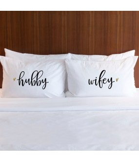Personalised HUBBY WIFEY printed pillowcase (A set of 2 pillowcovers)