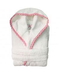 Girls Pink pipping Kids White Hooded Robe