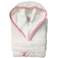 Girls Pink pipping Kids White Hooded Robe