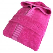 Rainbow Pink HOODED Bathrobes in 100% cotton Terry towel fabric