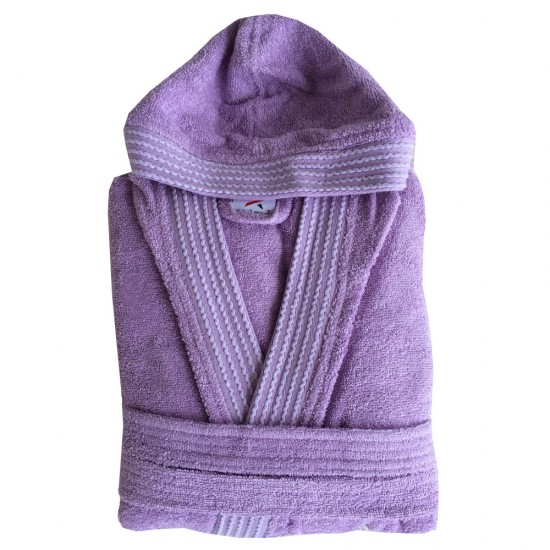 Rainbow LILAC HOODED Bathrobes in 100% cotton Terry towel fabric