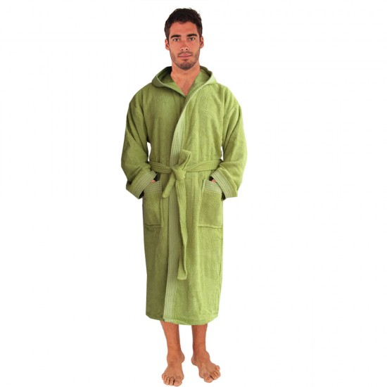 Rainbow LIME GREEN HOODED Bathrobes in 100% cotton Terry towel fabric