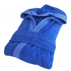 Rainbow ROYAL BLUE HOODED Bathrobes in 100% cotton Terry towel fabric