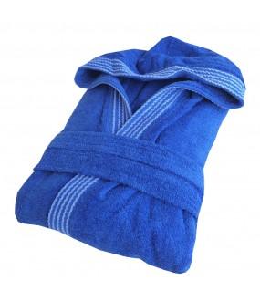 Rainbow ROYAL BLUE HOODED Bathrobes in 100% cotton Terry towel fabric