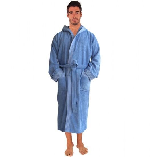 Rainbow SKY BLUE HOODED Bathrobes in 100% cotton Terry towel fabric