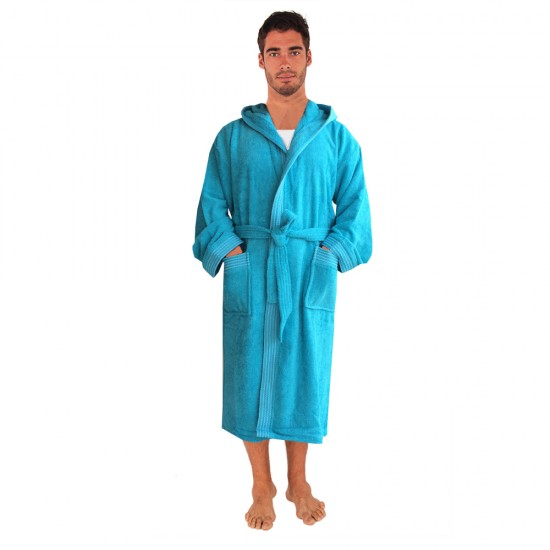 Rainbow Turquoise HOODED Bathrobes in 100% cotton Terry towel fabric