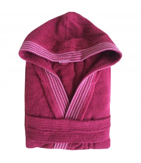 Rainbow Wine HOODED Bathrobes in 100% cotton Terry towel fabric