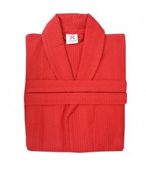 Red Waffle weave Bathrobe