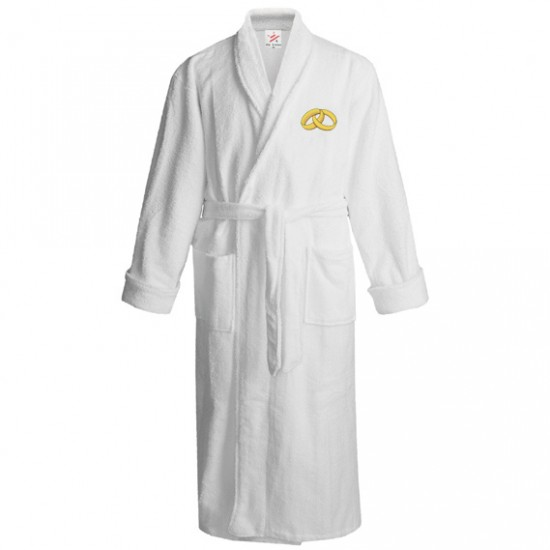 Shiny gold rings logo embroidered Bathrobe