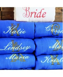 A White Bride ROYAL Bridesmaid set Waffle robe with custom back Embroidery