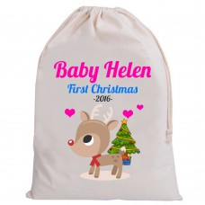 Personalised Santa Baby Sack First Christmas