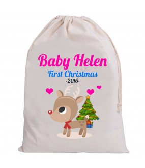 Personalised Santa Baby Sack First Christmas