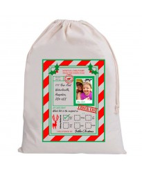 Personalised Santa Child Photo and your address on Christmas sack