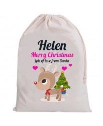 Personalised Santa Girl Sack Merry cute reindeer Christmas