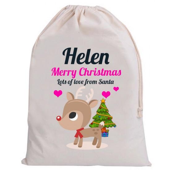Personalised Santa Girl Sack Merry cute reindeer Christmas
