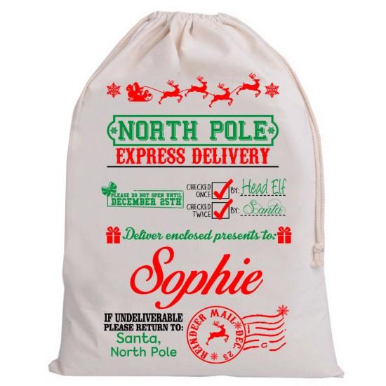 Personalised Santa Sack NORTH POLE EXPRESS service