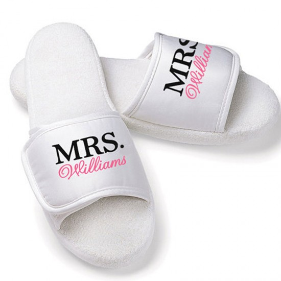 Personalised name embroidery on slippers