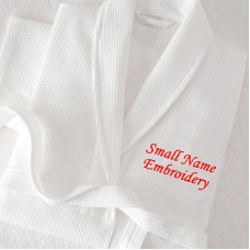 A Waffle Custom TEXT FRONT name Embroidery bathrobe