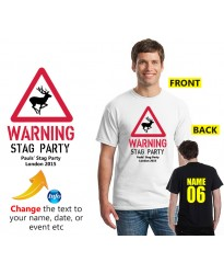 Stag Party Warning sign with Stag inside t shirt