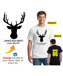 Stag T shirt with moose head personalised with text