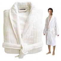 ORGANIC Cotton Striped Velour Cotton White Bathrobe