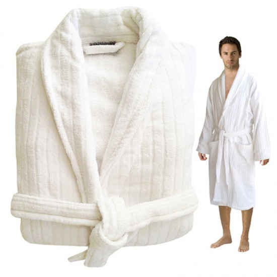 Striped Velour Cotton White Bathrobe