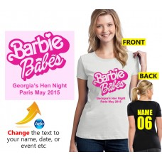 Hen Night T Shirt Barbie Babes with your custom text