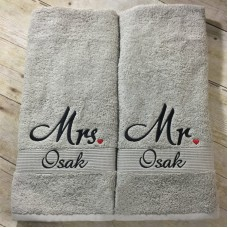 Personalised Set of 2 Towels Mr & Mrs with heart embroidery