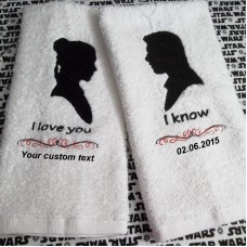 Personalised Set of 2 Towels Leia and Han I love you