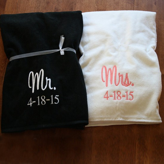 Personalised Set for Mr (Black Towel) & Mrs (White Towel) with date embroidery