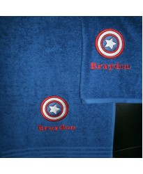 Personalised Captain Hero Towels with custom text Embroidery