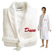 ORGANIC Custom Luxury Velour TEXT Embroidery on FRONT of bathrobe