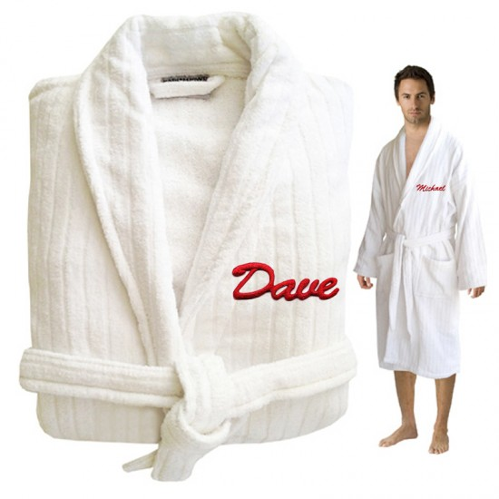 Custom Luxury Velour TEXT Embroidery on FRONT of bathrobe