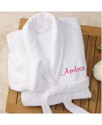 A Deluxe Terry cotton with custom TEXT Embroidery bathrobe