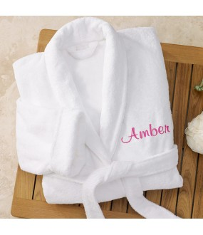 A Deluxe Velour cotton terry with custom TEXT Embroidery bathrobe