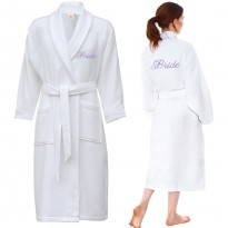 Waffle bathrobe with FRONT + BACK custom text Embroidery