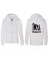 Custom Mrs Bride Zip Hoodie printed
