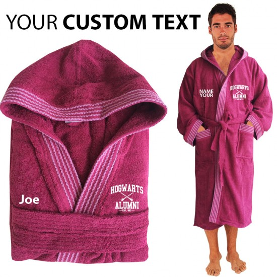A Wizards ALUMNI  favorite Hooded Custom TEXT FRONT Embroidery TERRY Towel Bathrobe