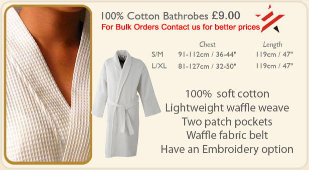 f59a2e815b Purchase Quality 100% Cotton Waffle bathrobe from stock £7.50 direct from  the wholesaler